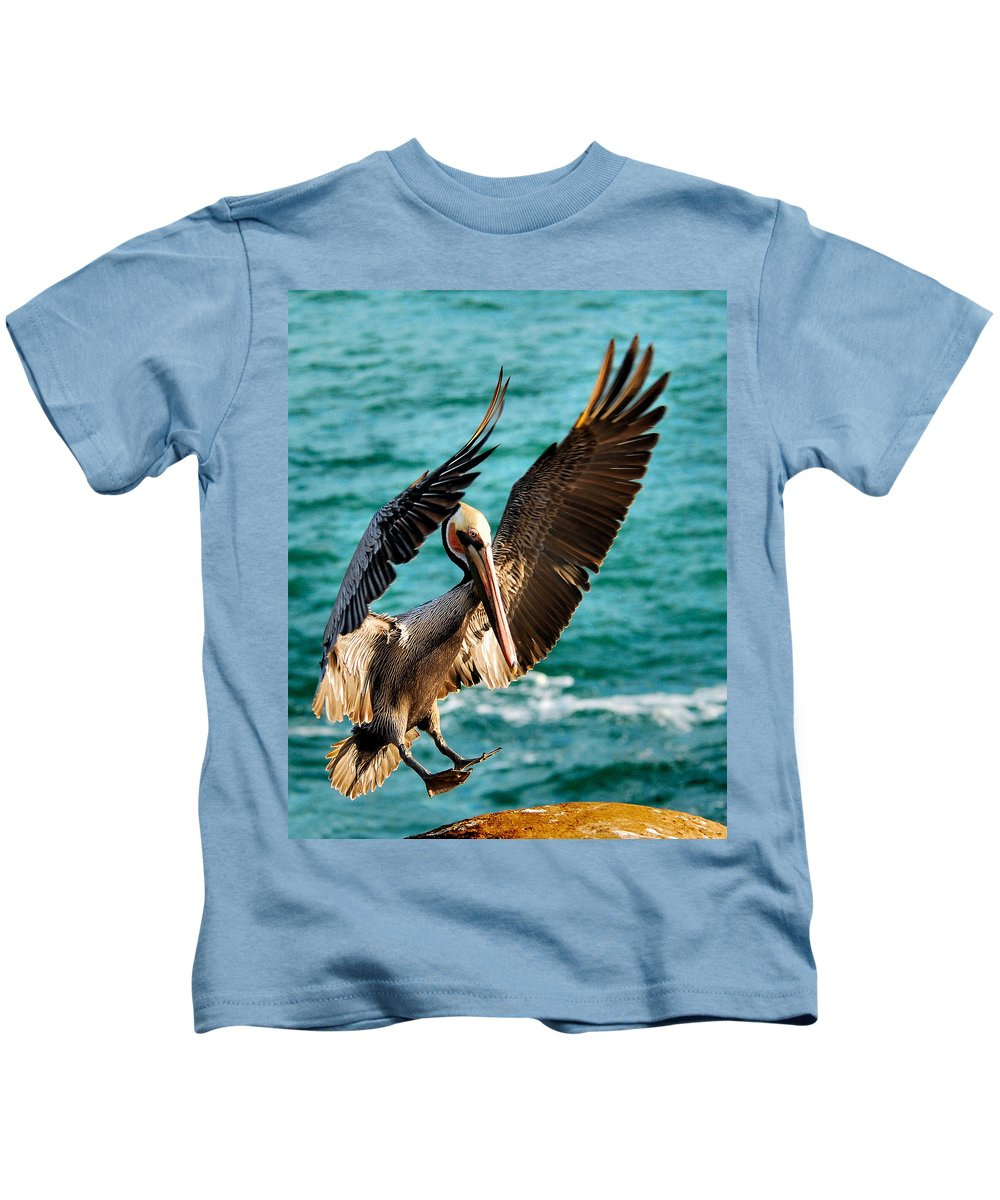 Pelican Kids T-Shirt featuring the photograph Perfect Landing by Howard Bagley