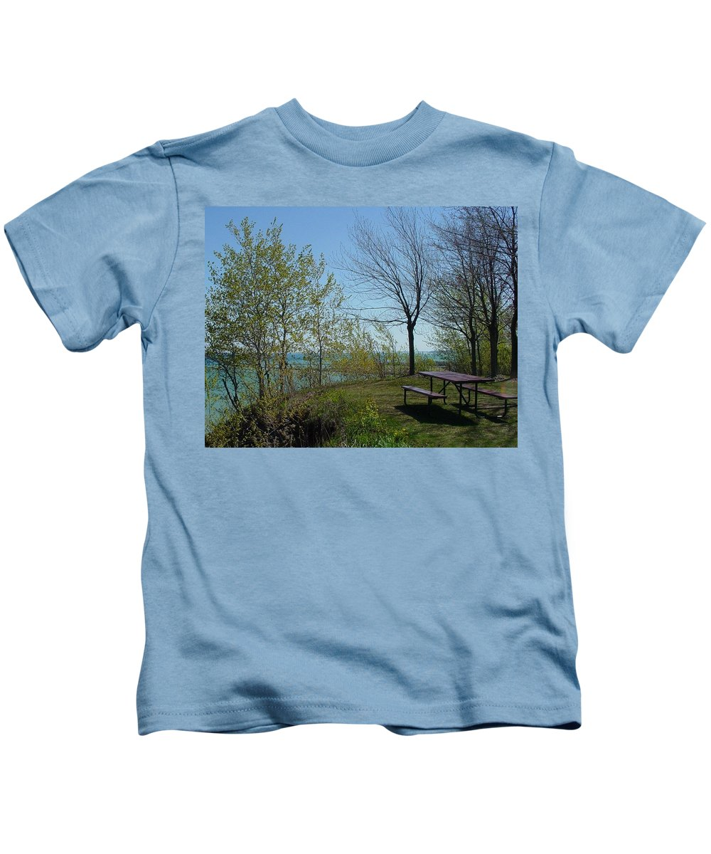 Lake View Kids T-Shirt featuring the photograph Picnic Table By The Lake Photo by Anita Burgermeister