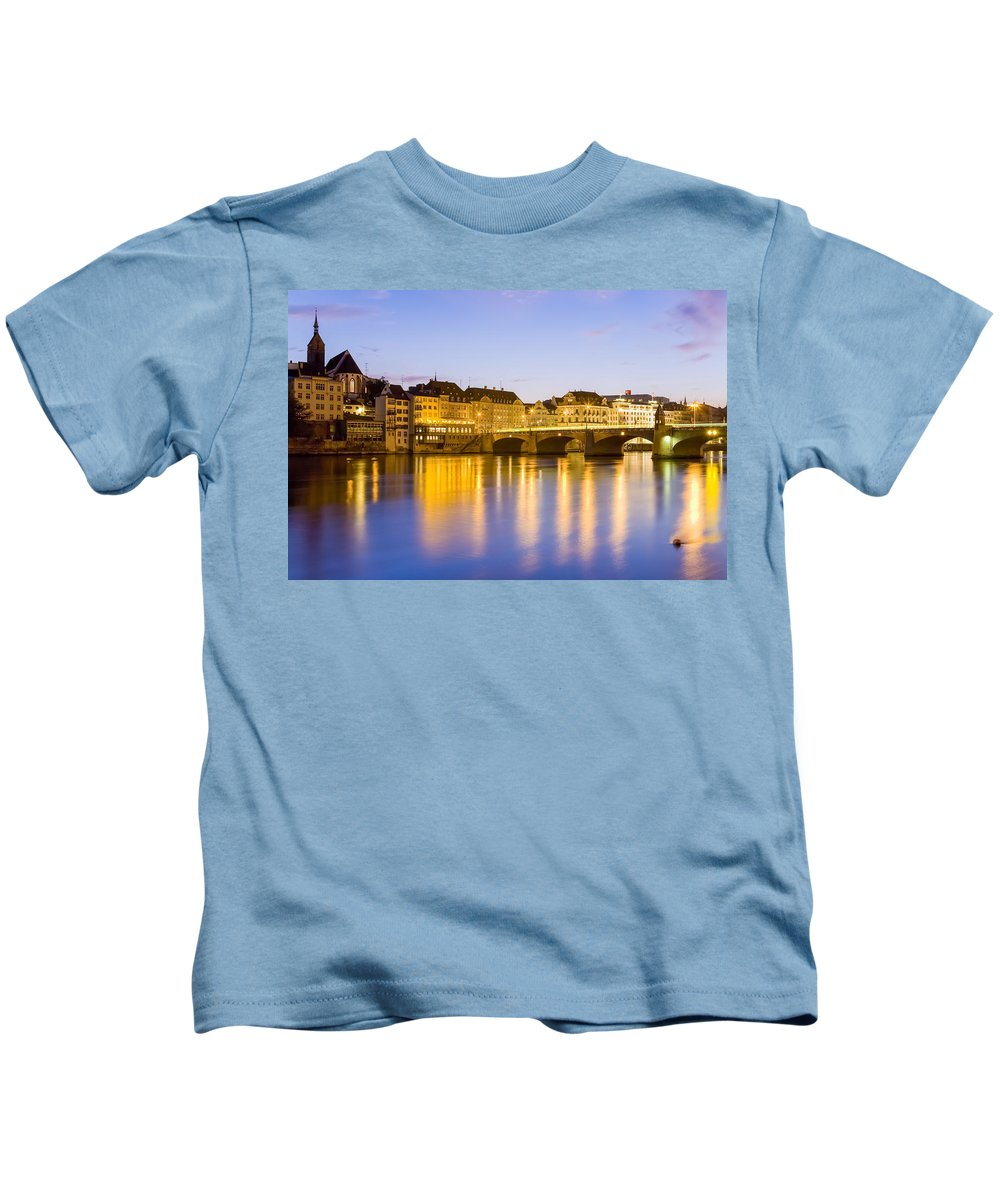 Basel Kids T-Shirt featuring the photograph Picturesque Basel At Night by Werner Dieterich