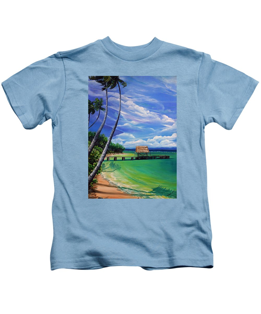 Ocean Paintings Caribbean Paintings Tropical Paintings  Beach Paintings Seascape Paintings Palm Tree Paintings  Trinidad & Tobago Paintings  Cloud Paintings Sky Paintings Pigeon Point Tobago Paintings Greeting Card Paintings Canvas Print Paintings Poster Print Paintings Kids T-Shirt featuring the painting Pigeon Point  Tobago by Karin Dawn Kelshall- Best