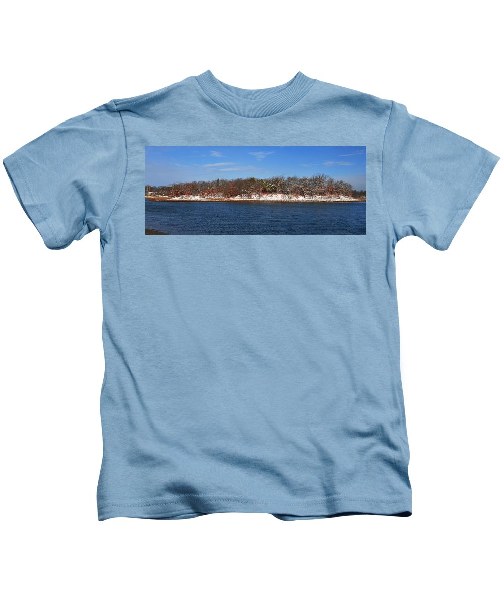 Pine Island In The Snow Blacks Creek Quincy Kids T-Shirt featuring the photograph Pine Island In The Snow by Bill Driscoll