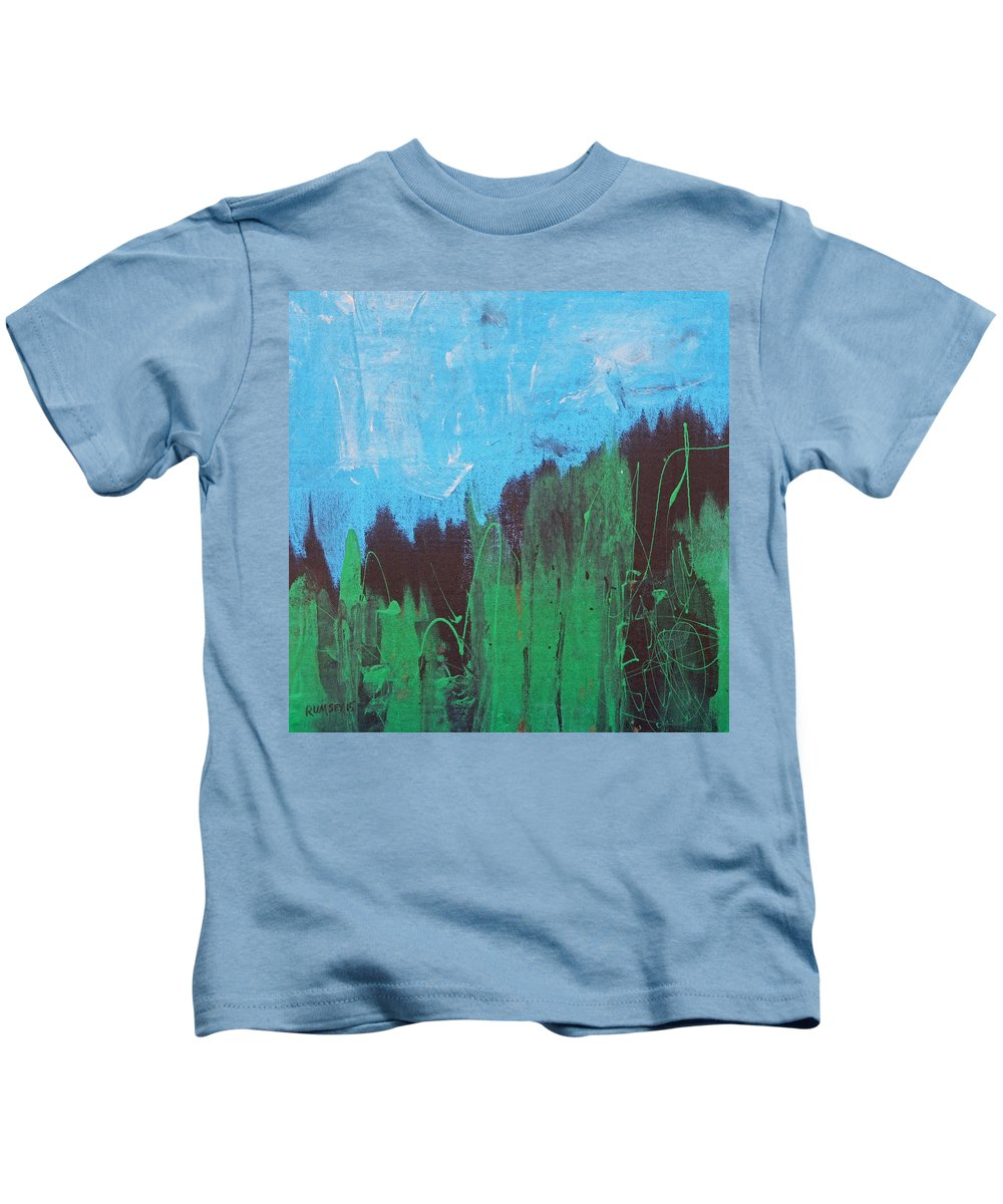 Pines Kids T-Shirt featuring the painting Pines by Rhodes Rumsey