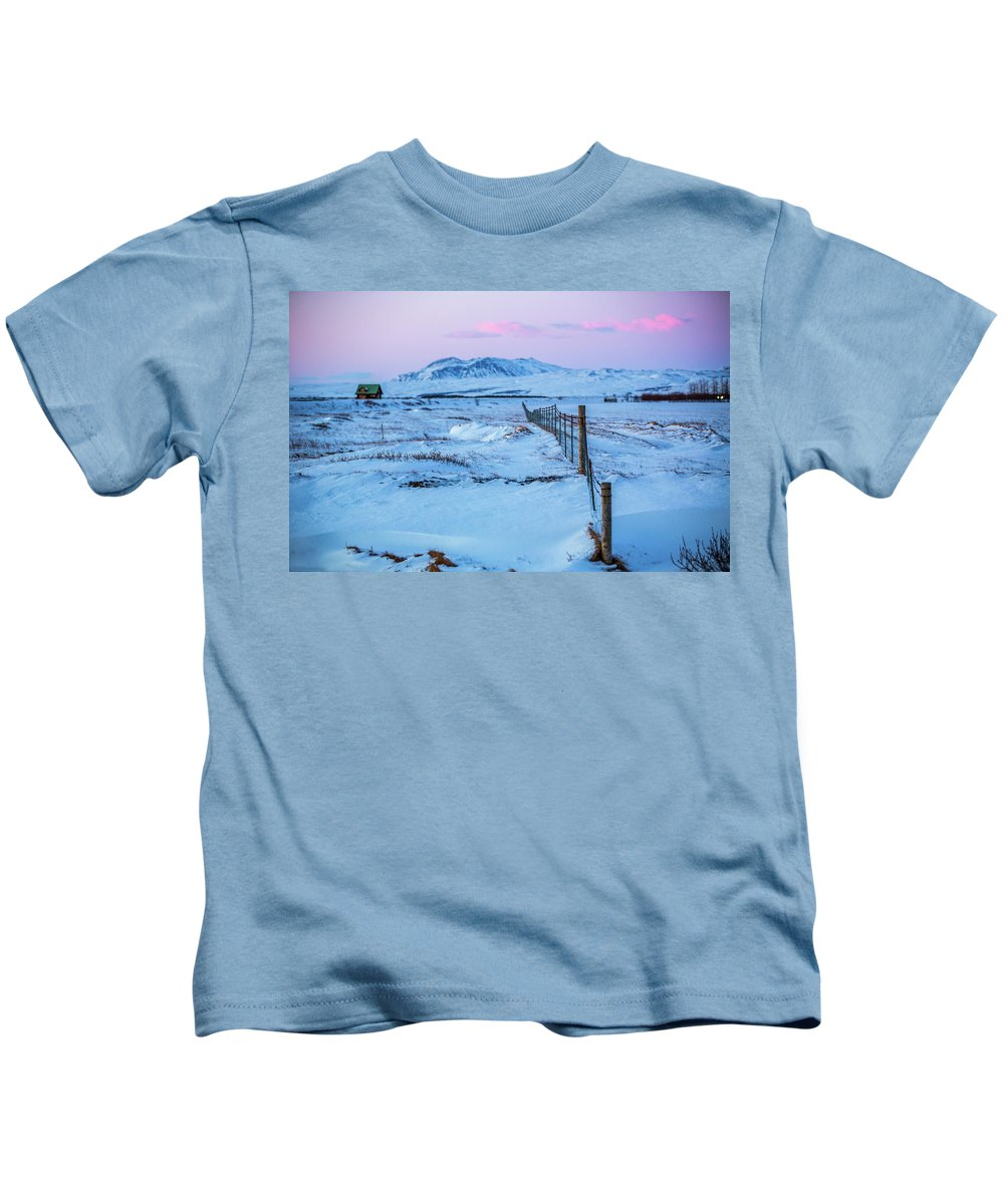 Iceland Kids T-Shirt featuring the photograph Pink And Blue Sunset by Jean-Claude Ardila