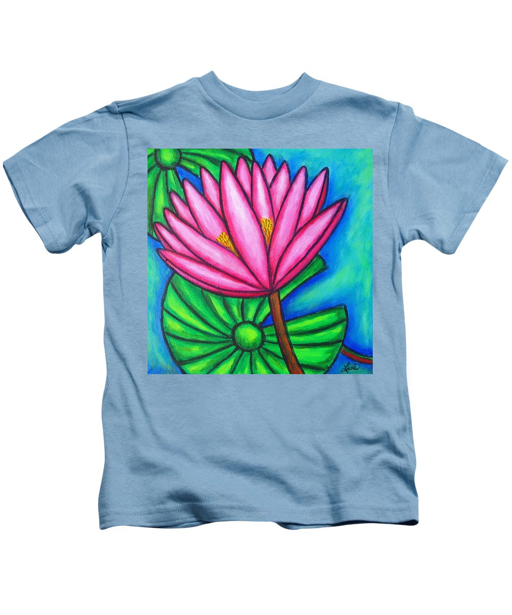 Water Lilies Kids T-Shirt featuring the painting Pink Gem 1 by Lisa Lorenz
