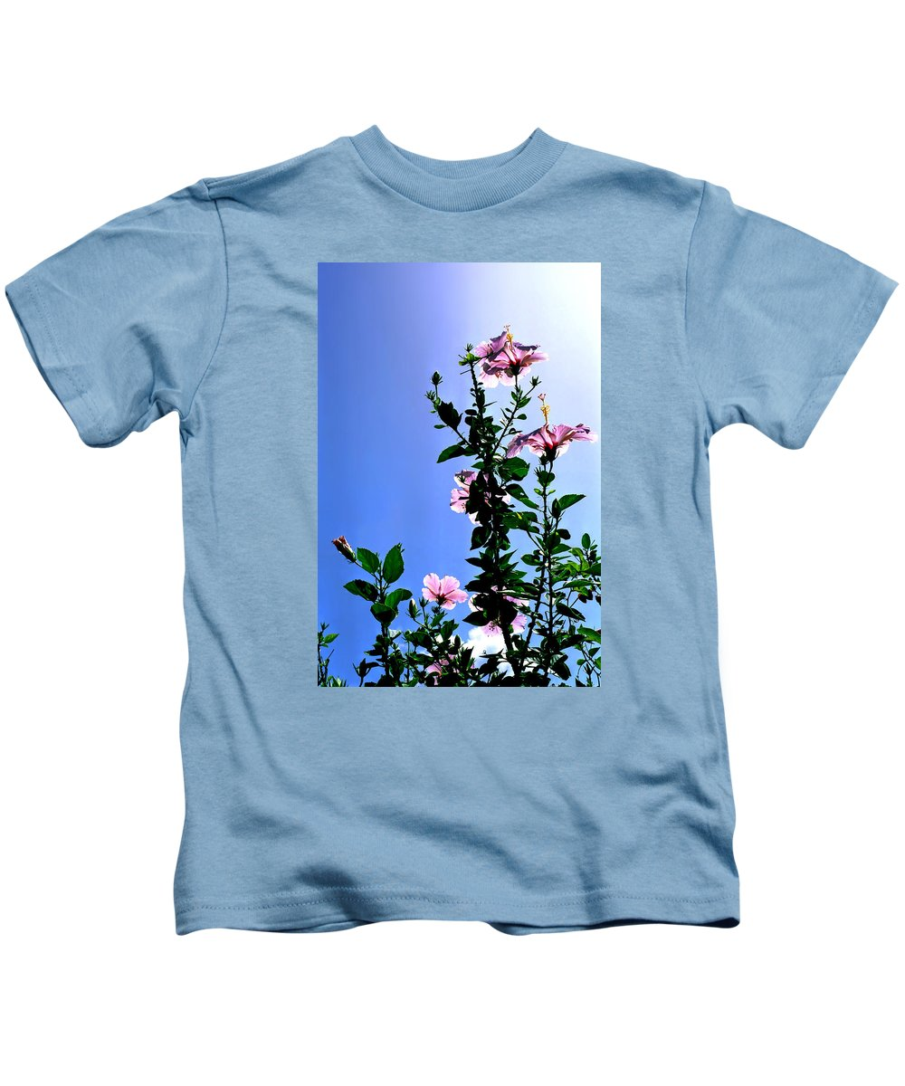 Hibiscus Hawaii Pink Backlit Green Foliage Leaves Tropical Flower Print Blue Sky Bright Midday Sun Kids T-Shirt featuring the photograph Pink Hibiscus by Kevin Smith