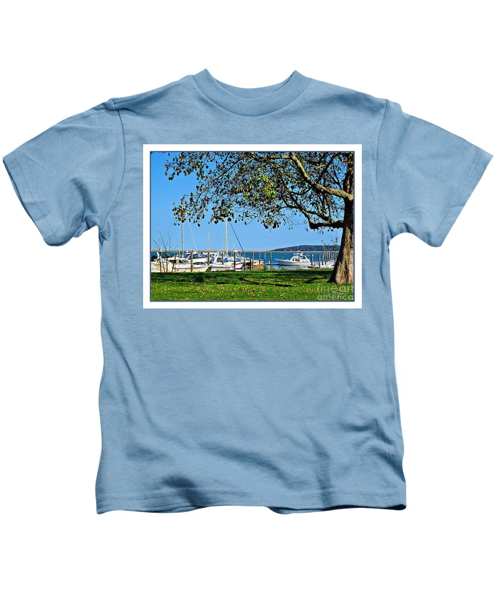 Atlantic Kids T-Shirt featuring the photograph Plymouth Harbor by Joan Minchak