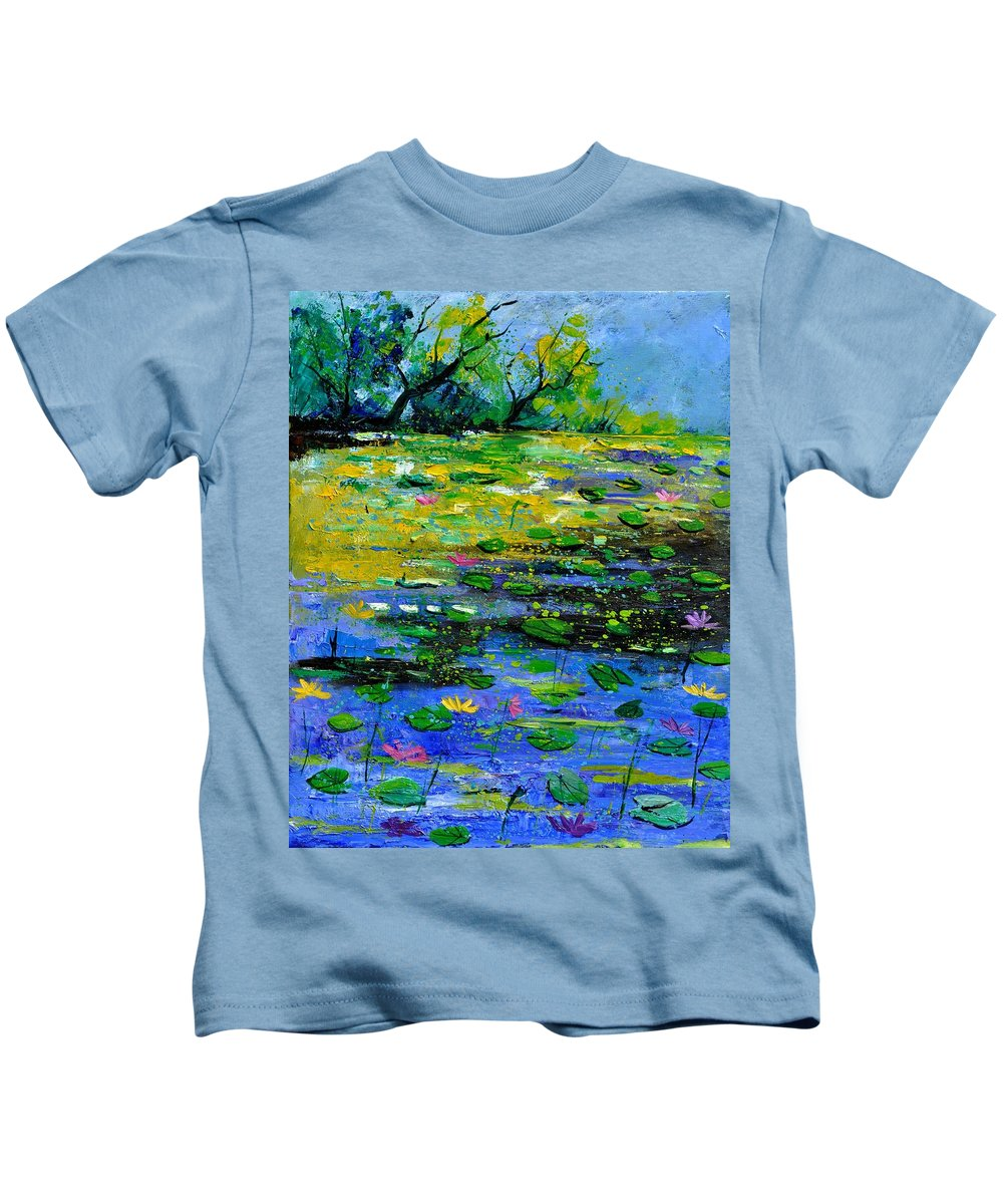Pond Kids T-Shirt featuring the painting Pond 452150 by Pol Ledent