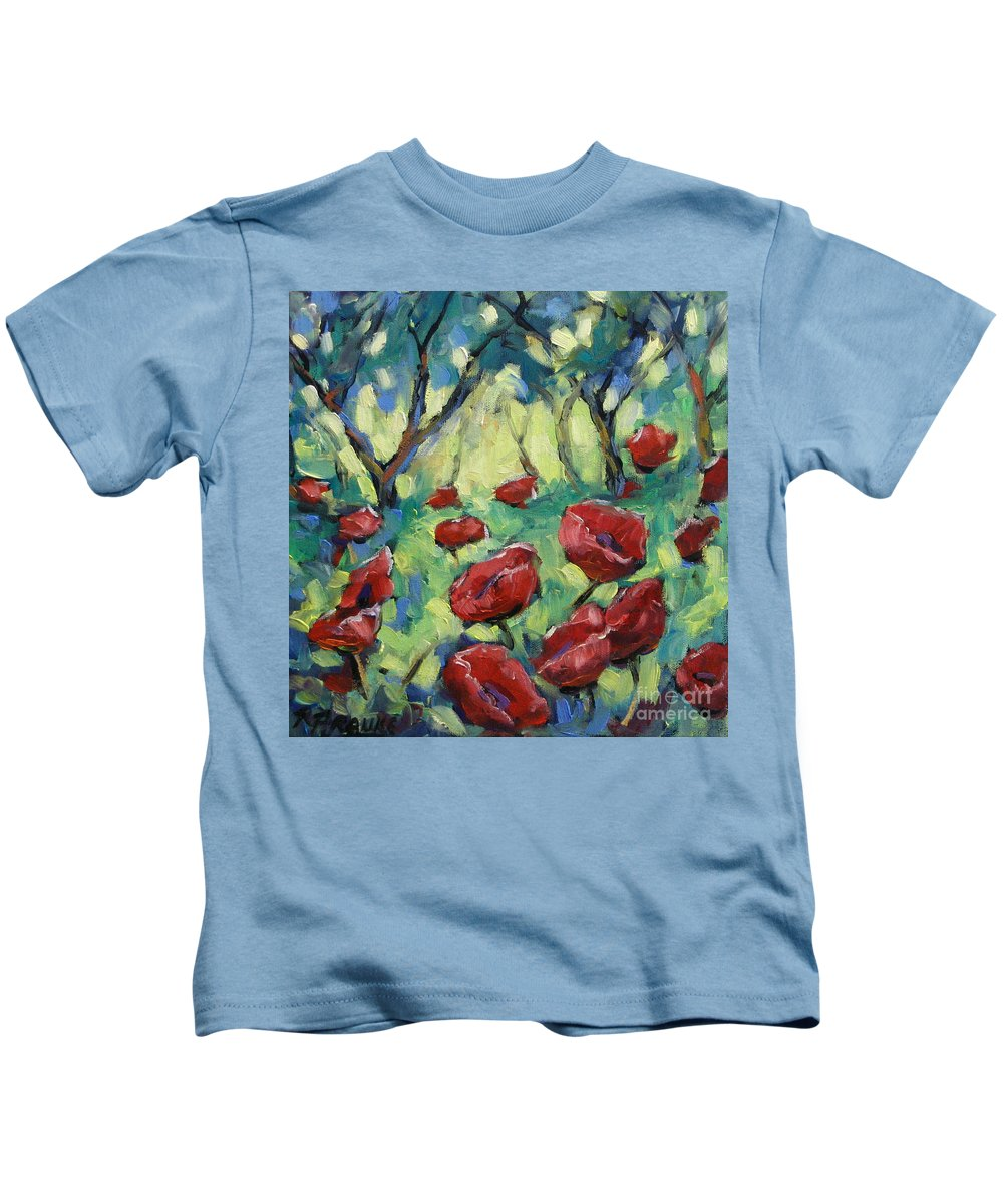 Art Kids T-Shirt featuring the painting Poppies Through The Forest by Richard T Pranke