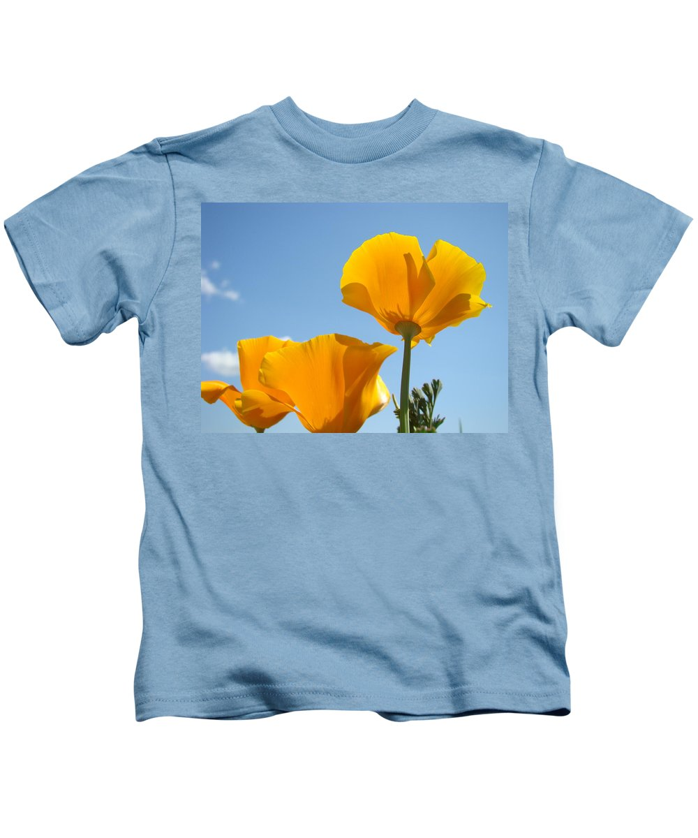 �poppies Artwork� Kids T-Shirt featuring the photograph Poppy Landscape Poppies Flowers Blue Sky 12 Baslee Troutman by Baslee Troutman