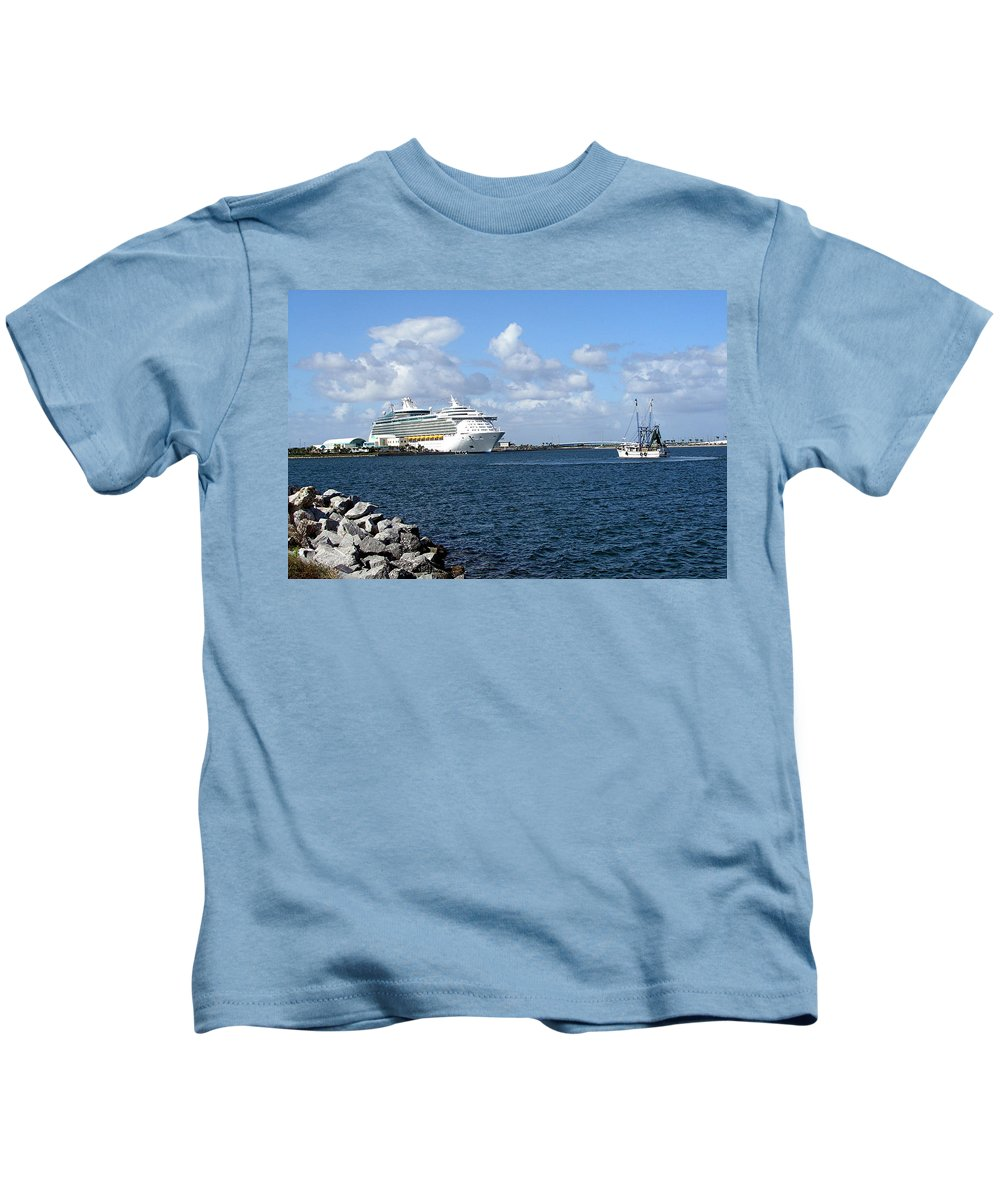 Cruise; Ships; Cruiseship; Ocean; Liner; Oceanliner; Port; Canaveral; Florida; Harbor; Harbour; Blue Kids T-Shirt featuring the photograph Port Canaveral In Floirda by Allan Hughes
