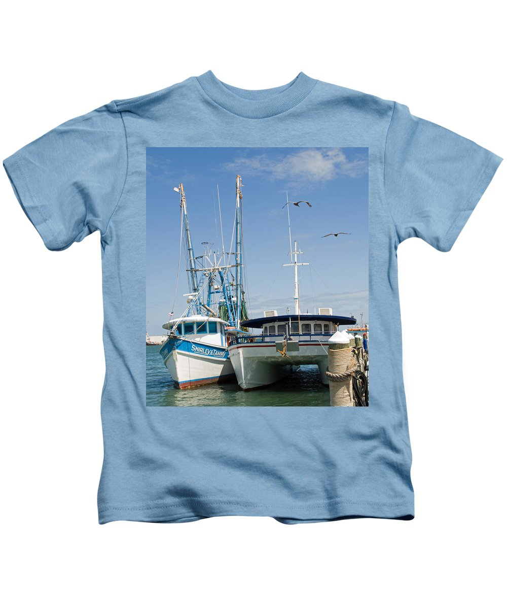 Florida; East; Coast; Atlantic; Ocean; Sea; Port; Canaberal; Harbor; Harbour; Boat; Shrimp; Party; C Kids T-Shirt featuring the photograph Port Canaveral On The East Coast Of Florida by Allan Hughes