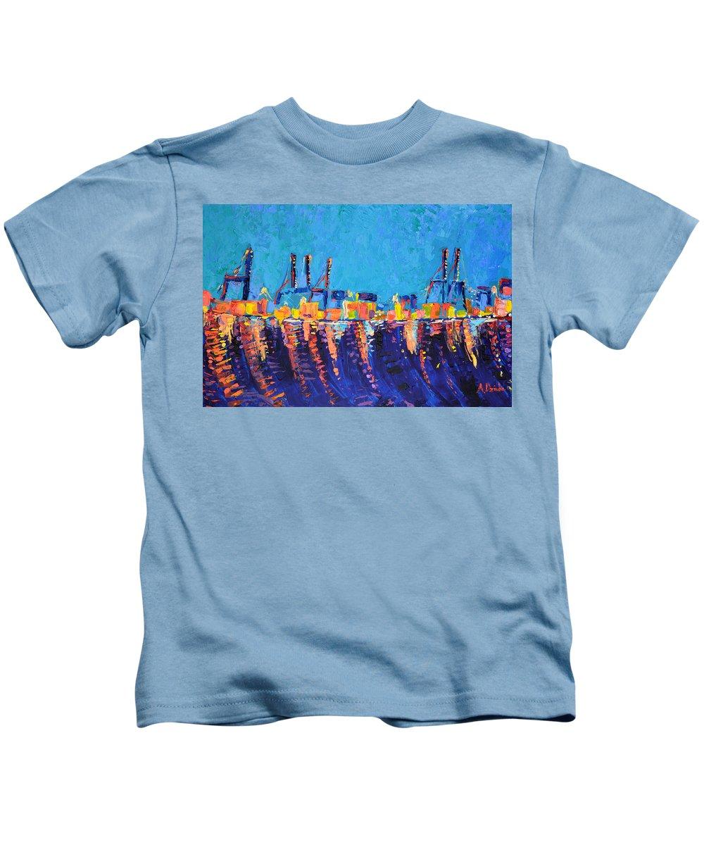Port Of Malaga Kids T-Shirt featuring the painting Port Of Malaga by Adriana Dziuba