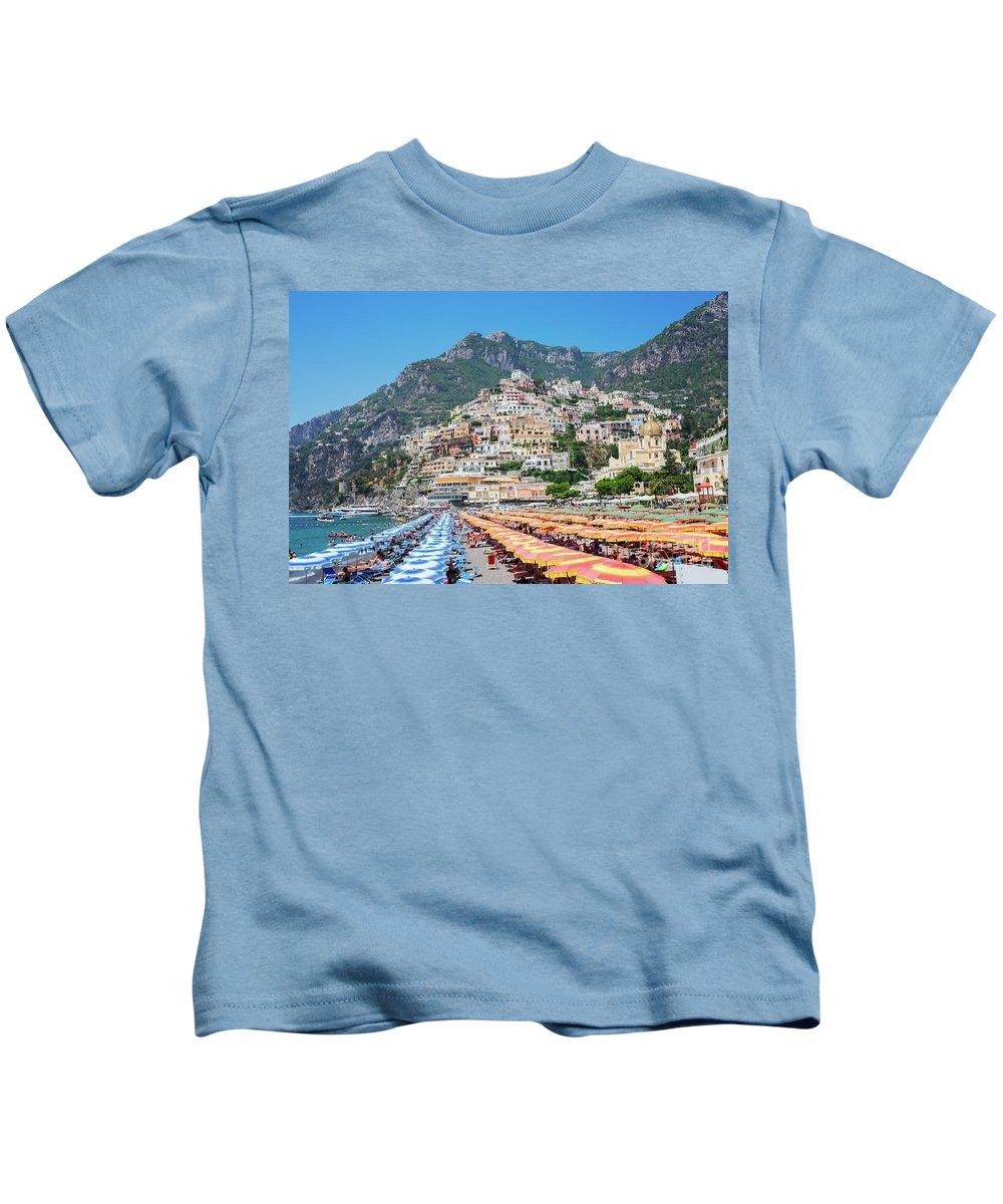 Positano Kids T-Shirt featuring the photograph Positano Resort by Anastasy Yarmolovich