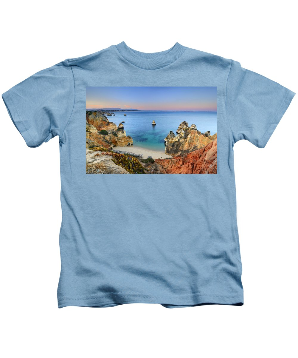 Sunset Kids T-Shirt featuring the photograph Praia Do Camilo At Sunset by Guido Montanes Castillo