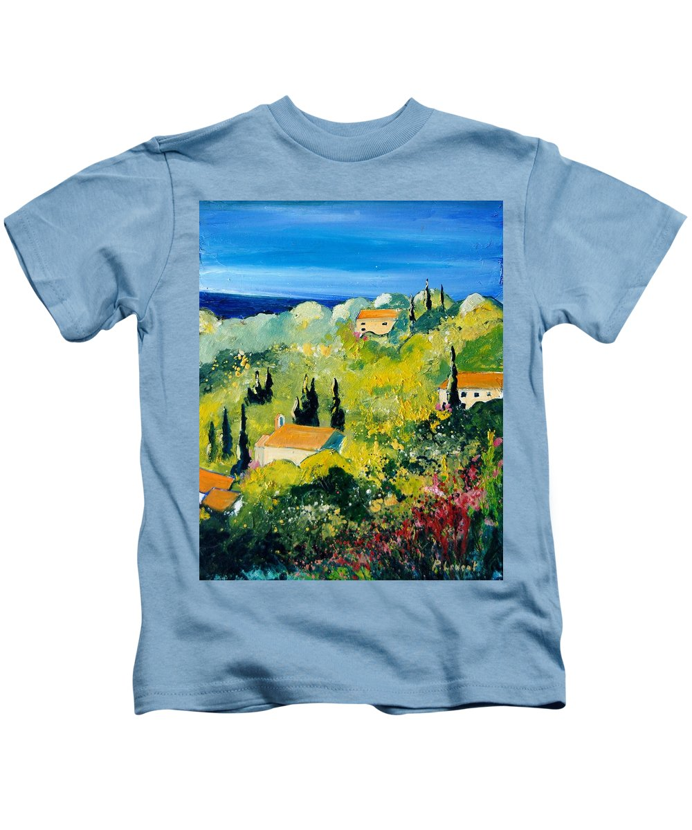 Village Kids T-Shirt featuring the painting Provence 459070 by Pol Ledent