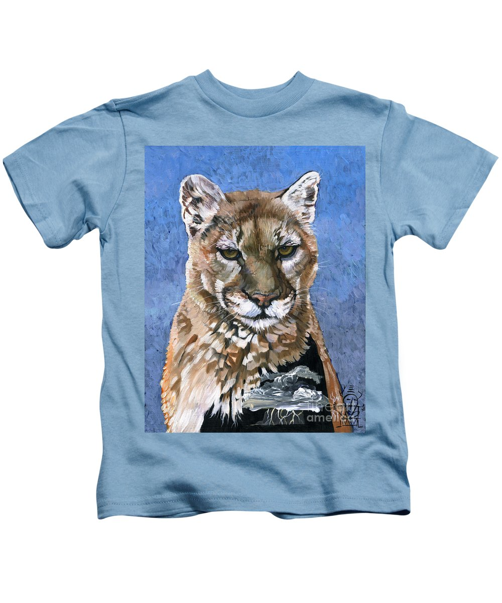 Puma Kids T-Shirt featuring the painting Puma - The Hunter by J W Baker