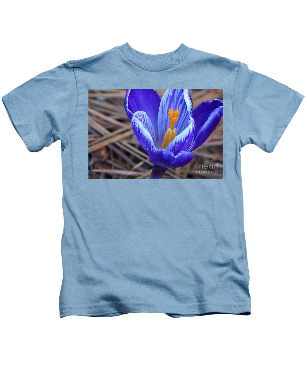 Crocus Kids T-Shirt featuring the photograph Purple Crocus by Maxine Billings