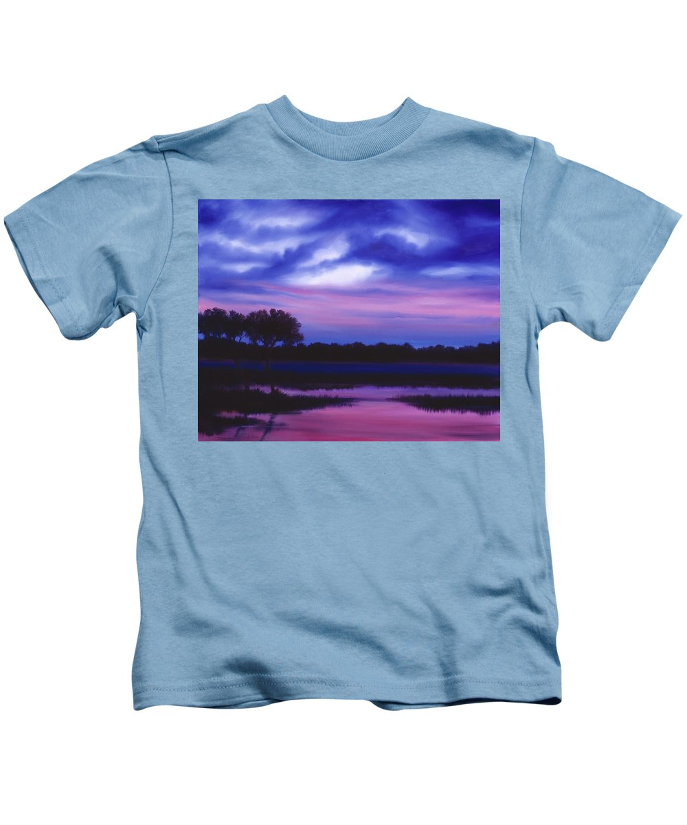 Sunrise Kids T-Shirt featuring the painting Purple Landscape Or Jean's Clearing by James Christopher Hill