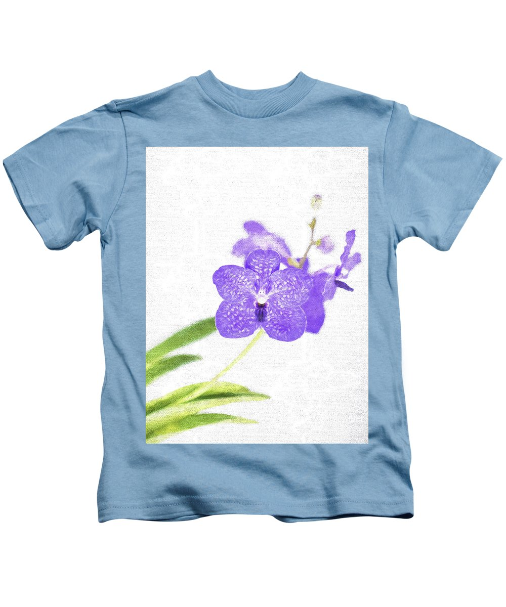 Purple Kids T-Shirt featuring the photograph Purple Orchid Bloom by Scott Mullin