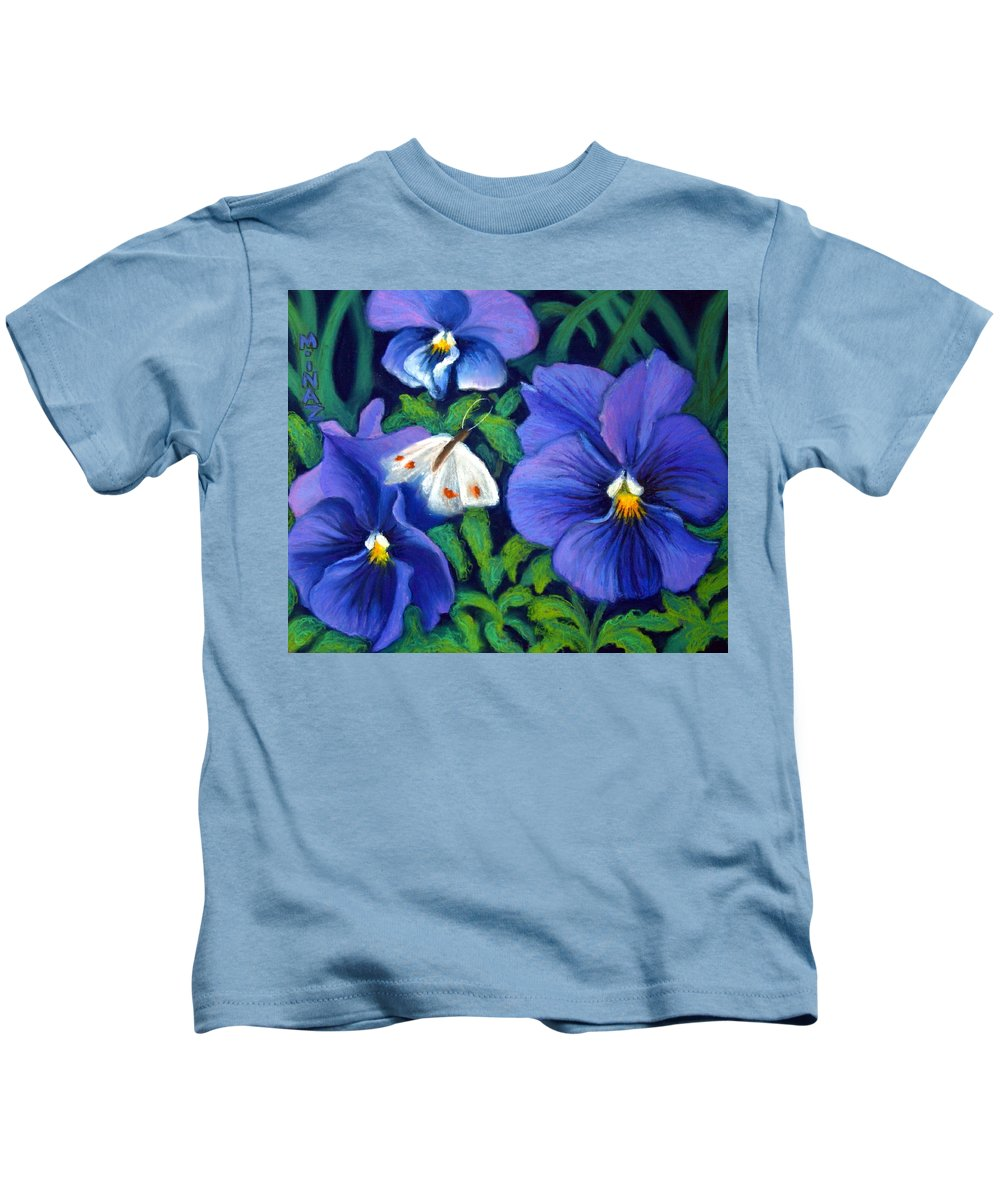 Pansy Kids T-Shirt featuring the painting Purple Pansies And White Moth by Minaz Jantz