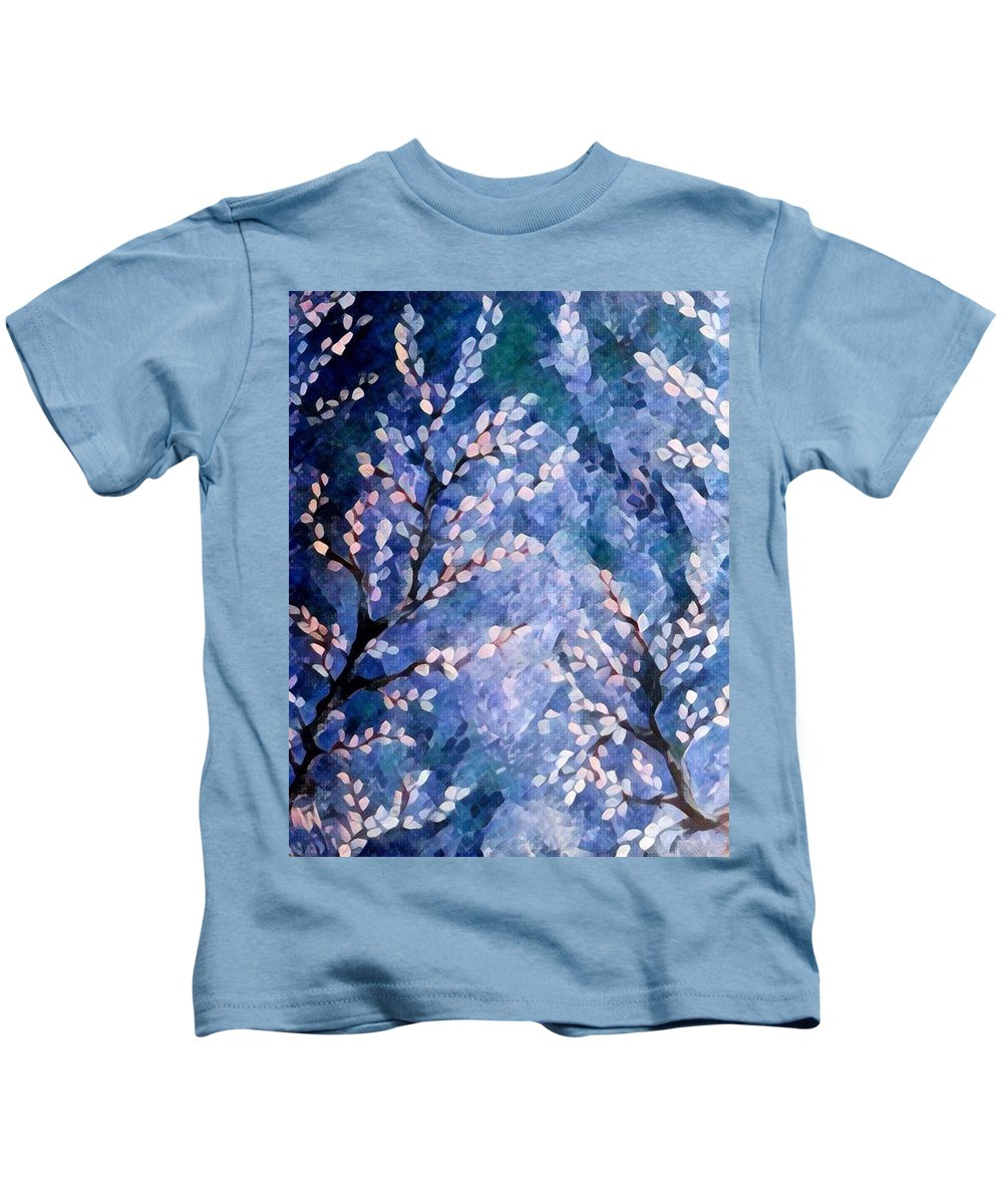 Pussy Willows Kids T-Shirt featuring the painting Pussy Willow Abstract by Megan Walsh