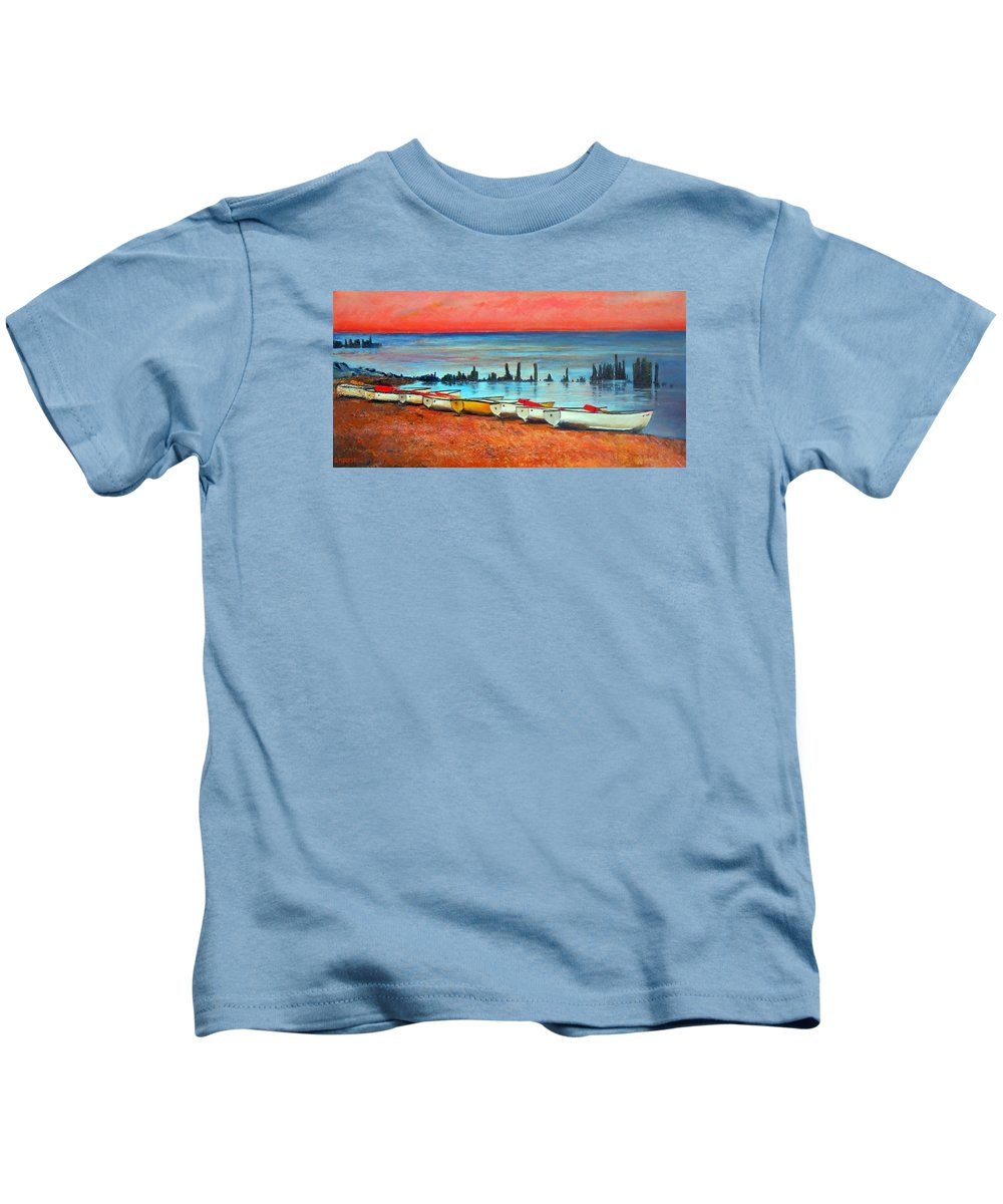 Chicago Kids T-Shirt featuring the painting Quiet Beach by Michael Durst