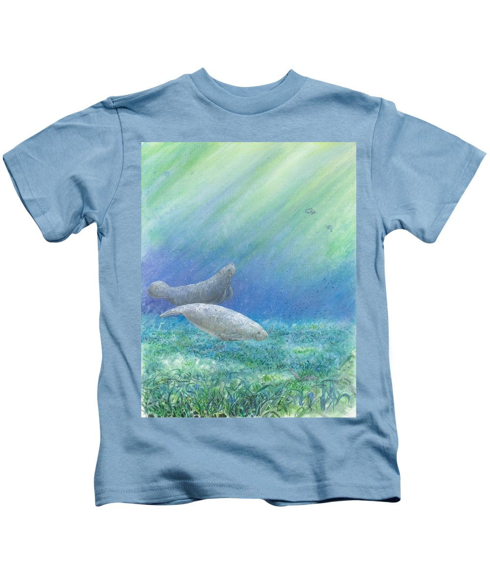 Sea Cow Kids T-Shirt featuring the painting Quiet Morning by Sharon Bowman