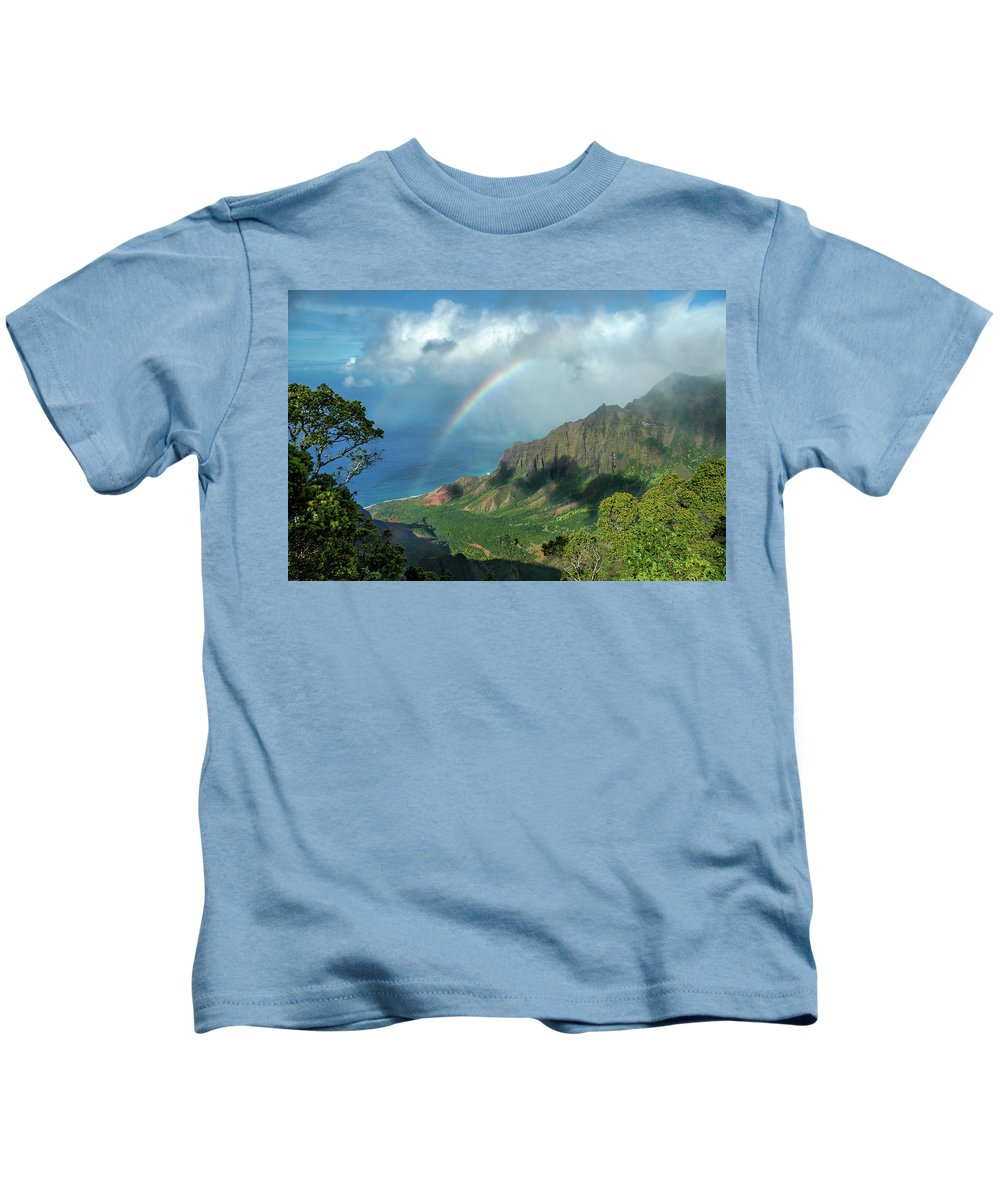 Landscape Kids T-Shirt featuring the photograph Rainbow At Kalalau Valley by James Eddy