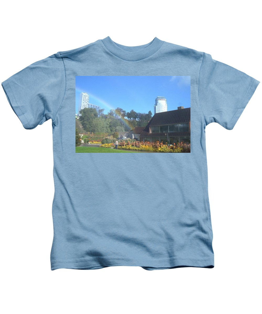 Rainbows Kids T-Shirt featuring the photograph Rainbow At The Falls by Debbie Levene
