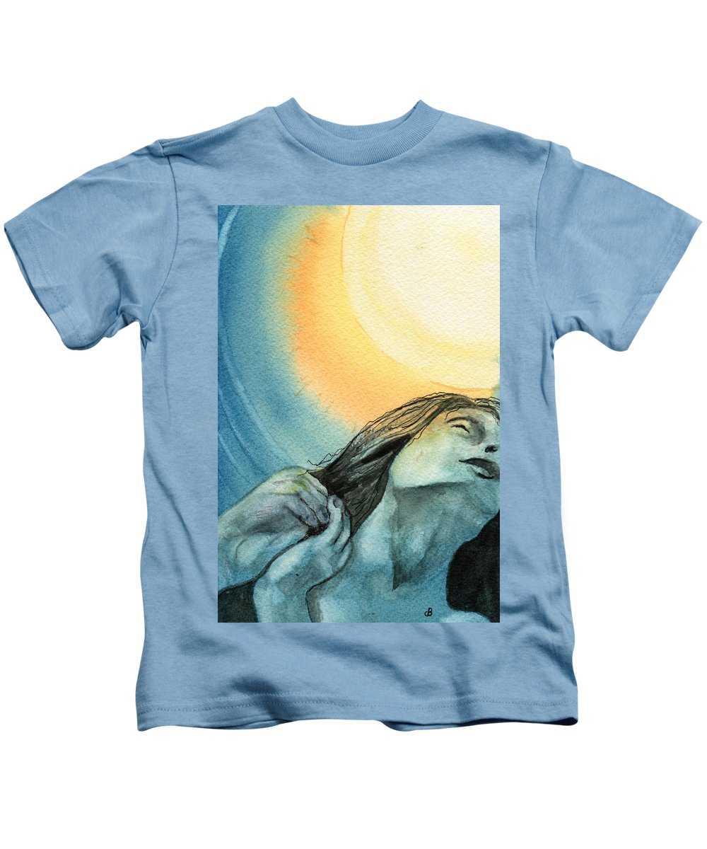 Watercolor Kids T-Shirt featuring the painting Rapture by Brenda Owen