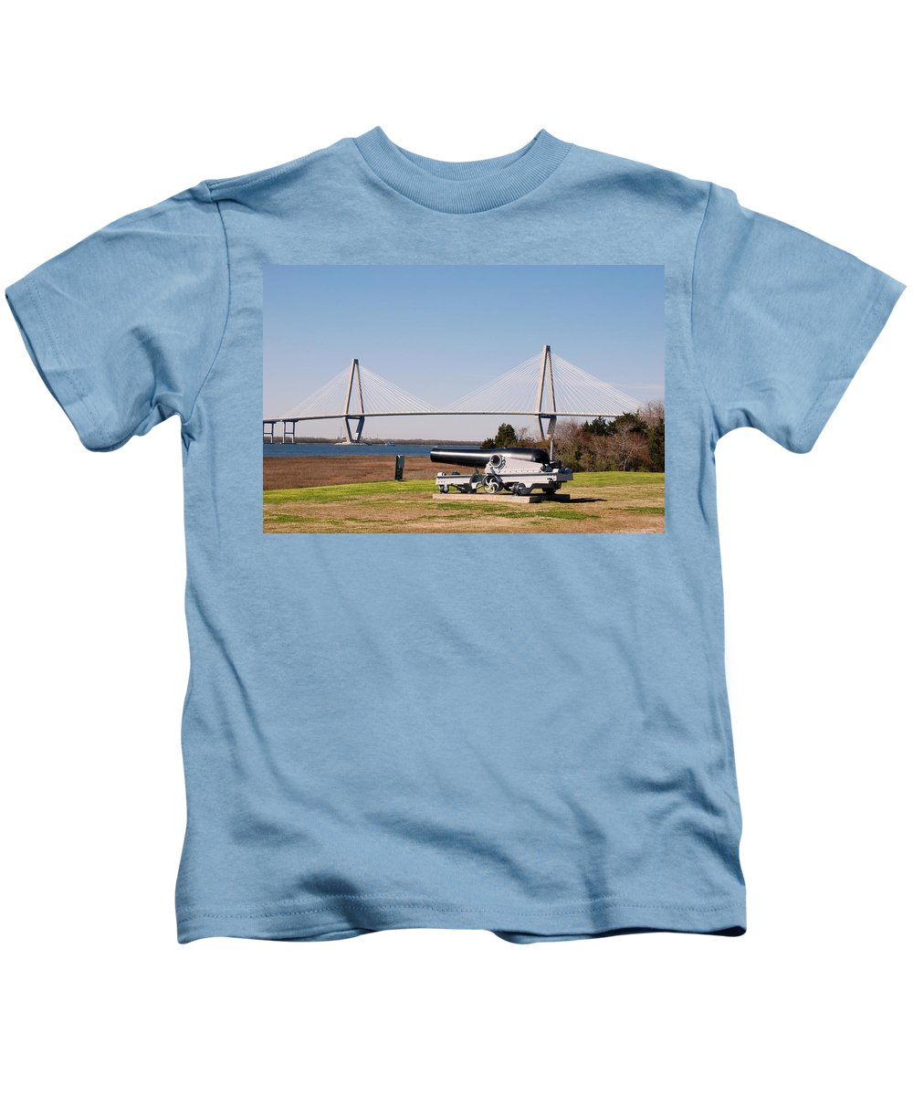 Photography Kids T-Shirt featuring the photograph Ravanel Bridge From The Patriot Point by Susanne Van Hulst