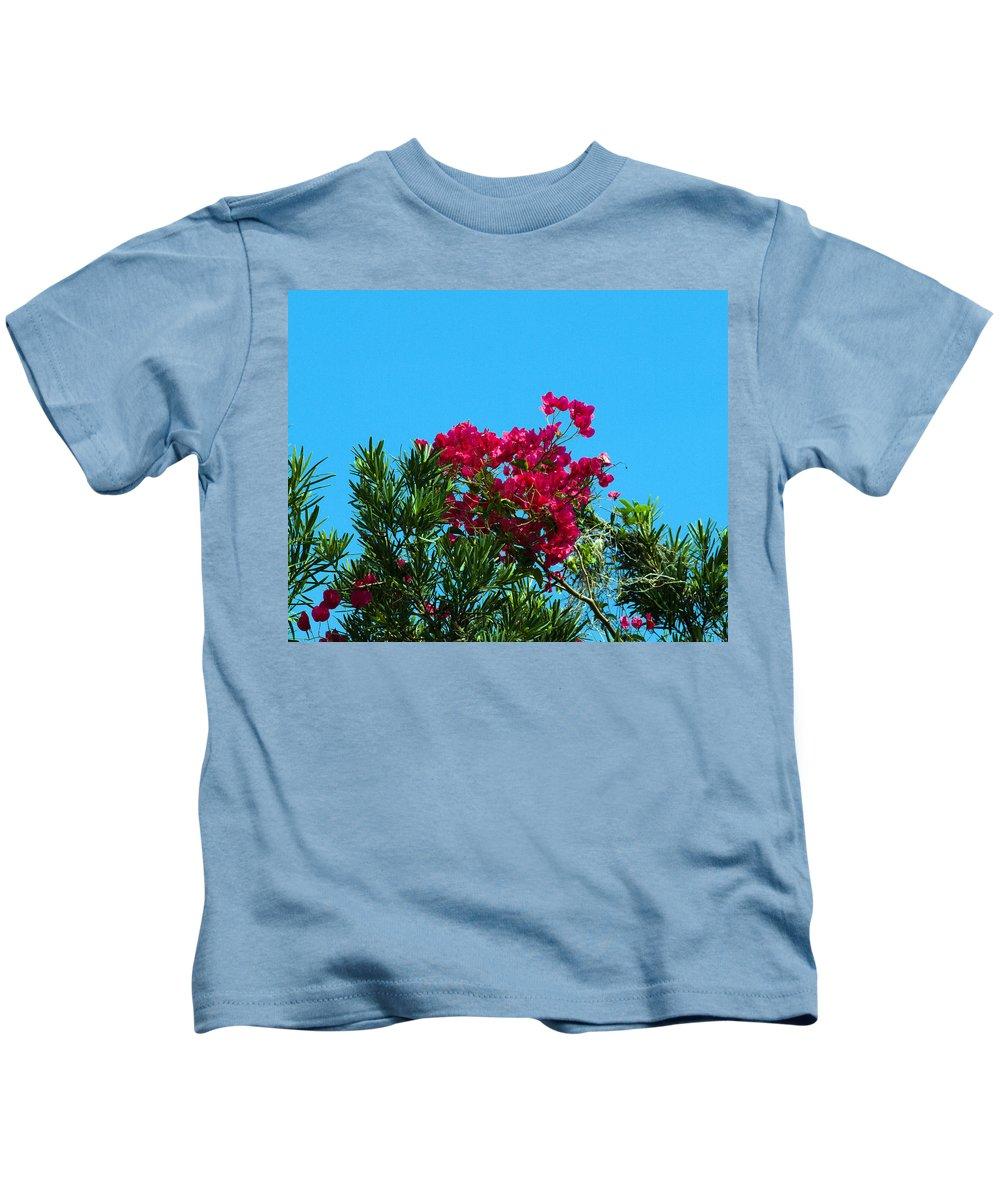 Red; Bougainvillea; Glabra; Juniperus; Vitginiana; Silicicola; Coastal; Cedar; Tree; Vine; Grow; Gro Kids T-Shirt featuring the photograph Red Bougainvillea Glabra Vine by Allan Hughes