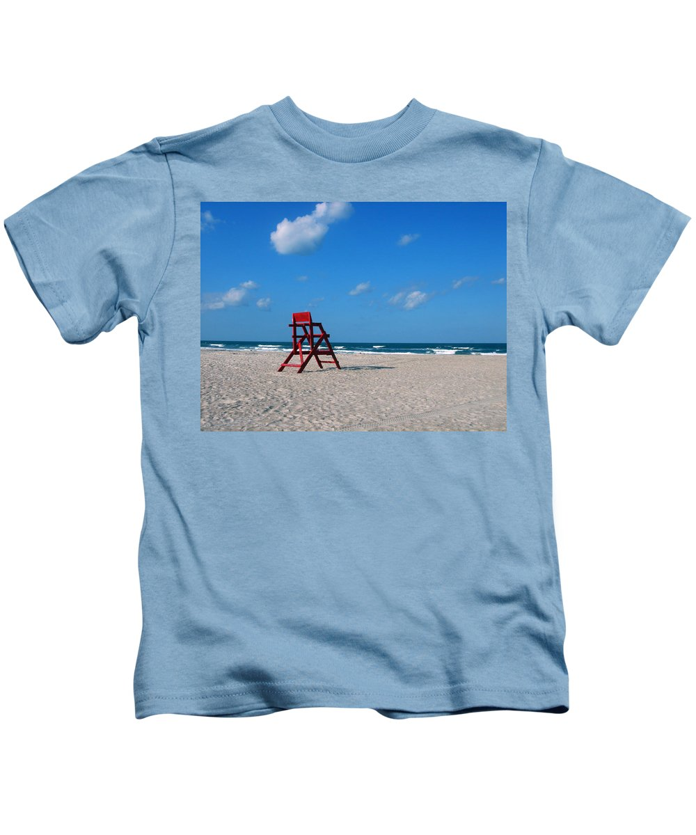 Photography Kids T-Shirt featuring the photograph Red Life Guard Chair by Susanne Van Hulst