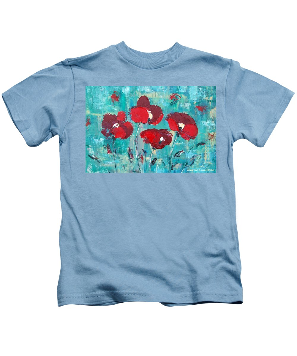 Red Kids T-Shirt featuring the painting Red Poppies 2 by Gina De Gorna