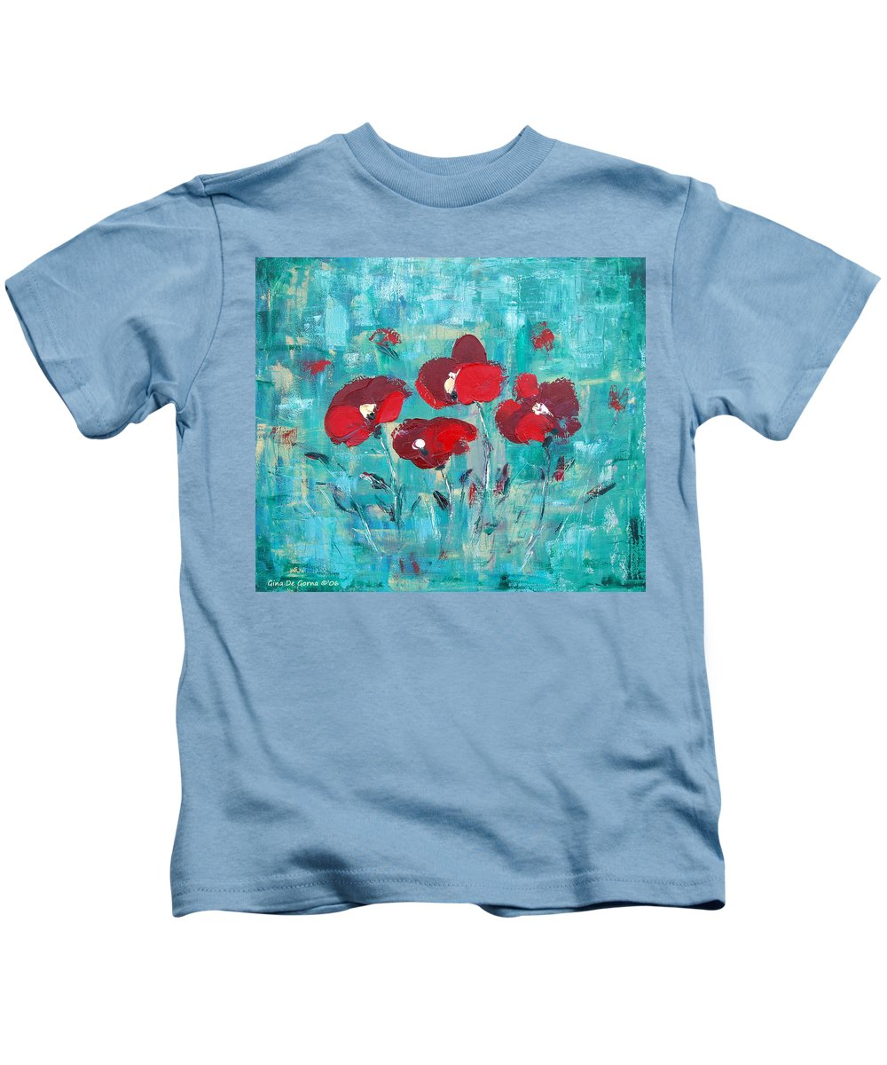 Red Kids T-Shirt featuring the painting Red Poppies by Gina De Gorna
