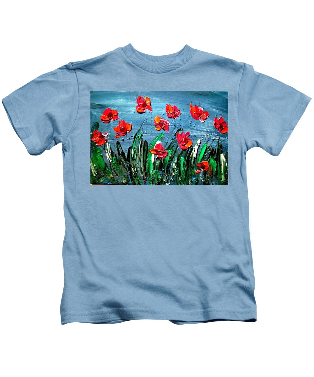 Flowers Kids T-Shirt featuring the painting Red Poppies by Mark Kazav
