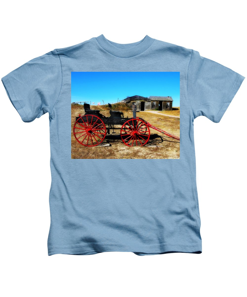 Wagon Kids T-Shirt featuring the photograph Red Wheels by Perry Webster