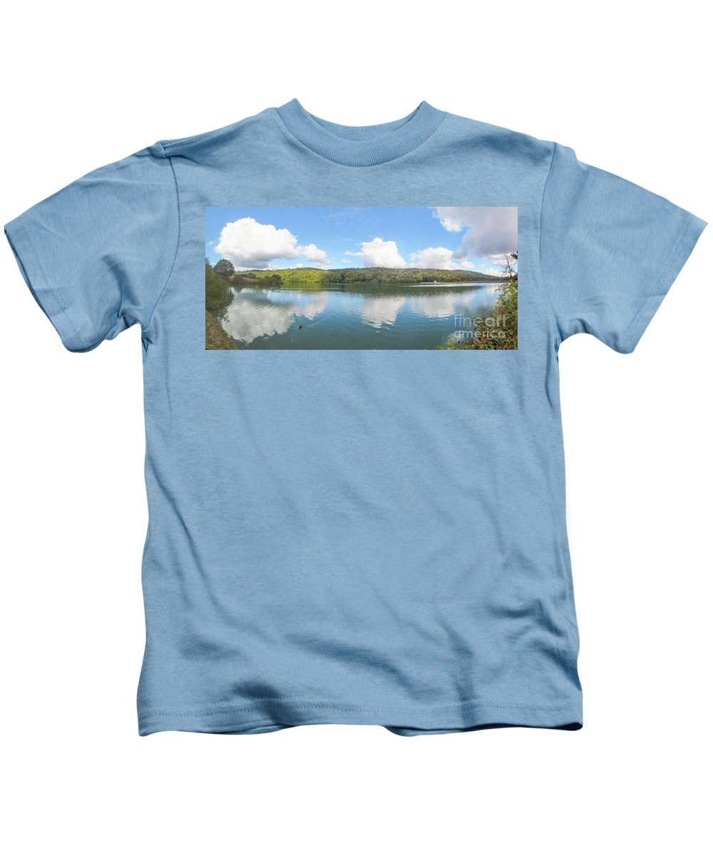 England - Lake - Water - Hill - Trees - Sky - Reflections Kids T-Shirt featuring the photograph Reflections Of Linacre by Chris Horsnell