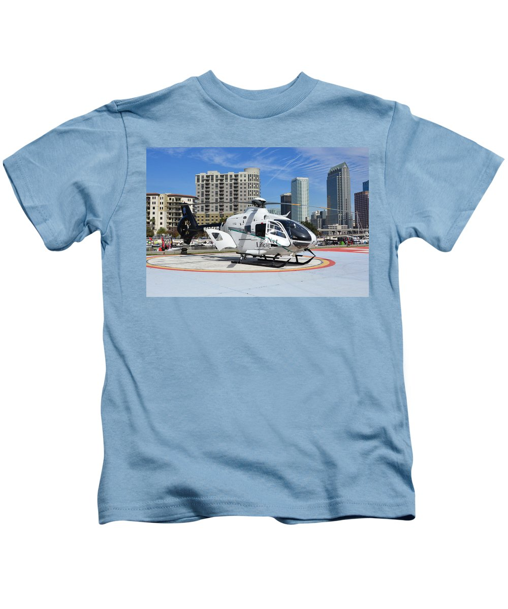 Rescue Helicopter Kids T-Shirt featuring the photograph Rescue Helocopter by David Lee Thompson