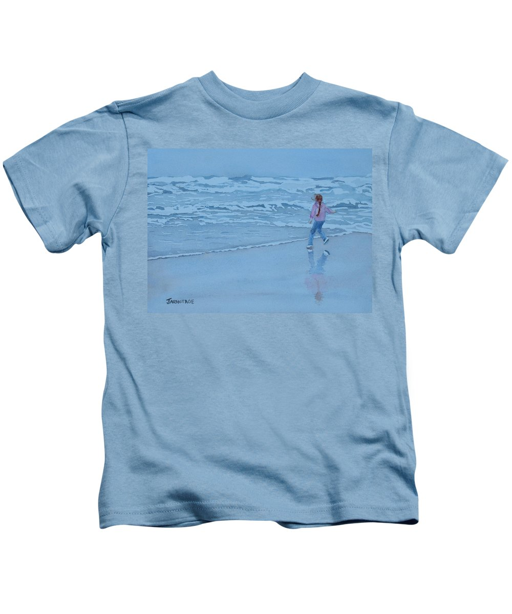 Ocean Kids T-Shirt featuring the painting Retreat by Jenny Armitage