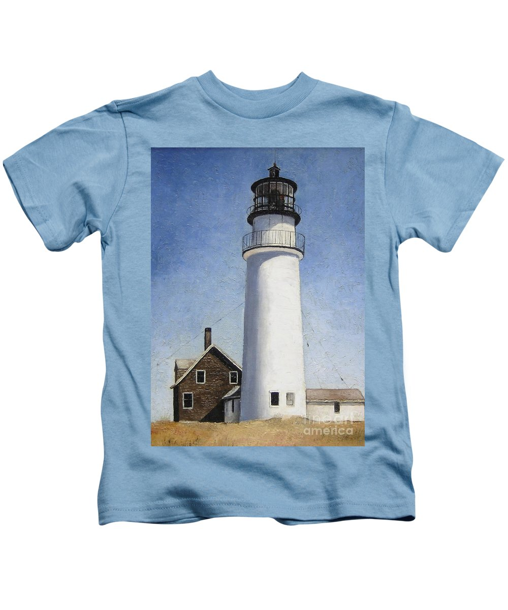 Lighthouse Kids T-Shirt featuring the painting Cape Cod Light by Mary Rogers