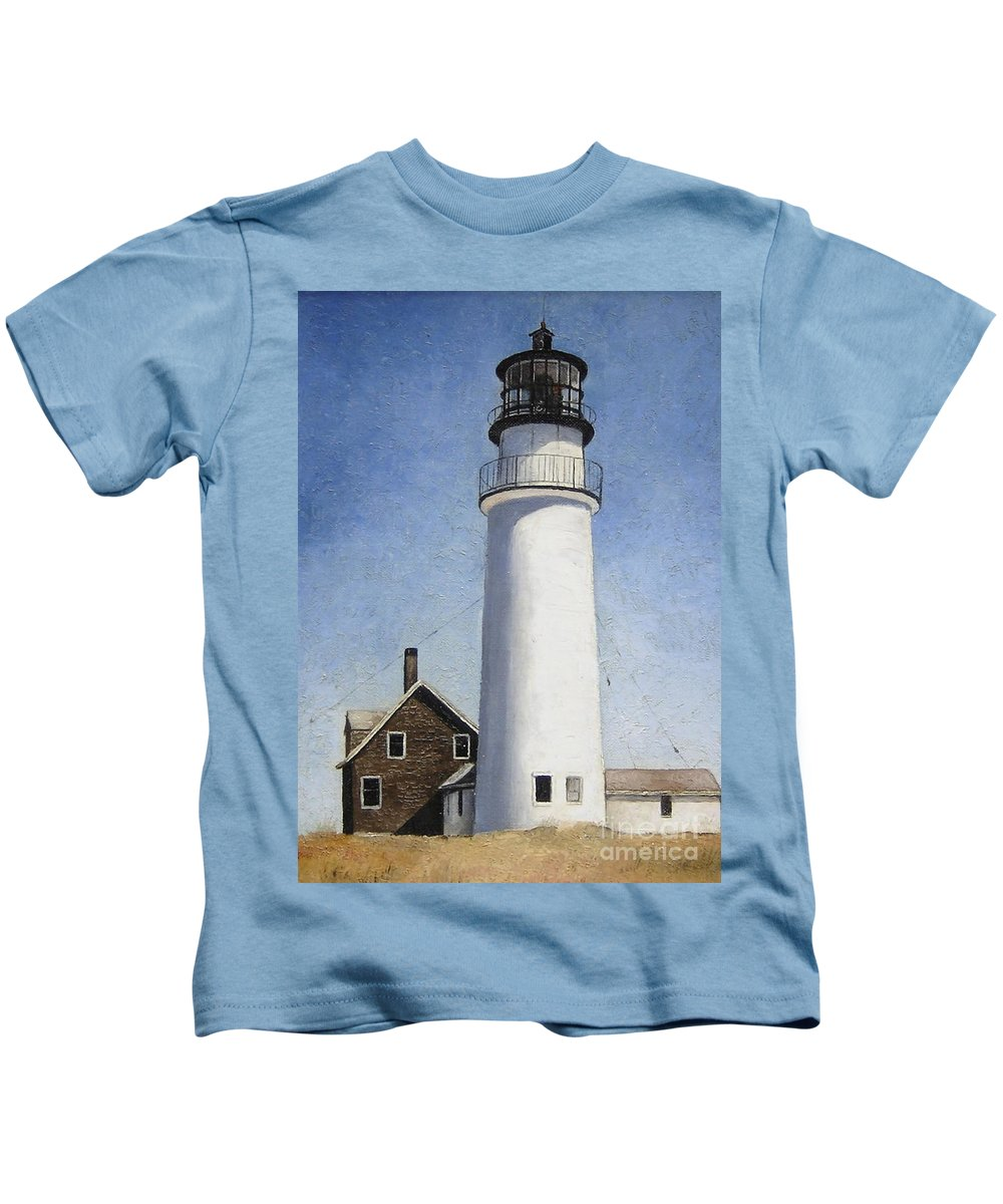 Lighthouse Kids T-Shirt featuring the painting Rhode Island Lighthouse by Mary Rogers