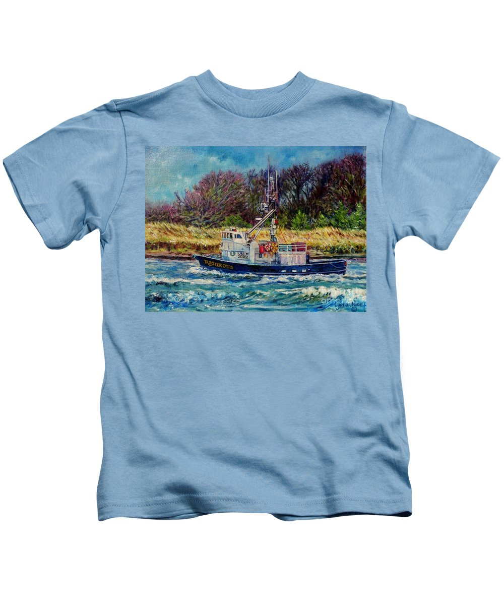 Fishing Boat Oil Painting Kids T-Shirt featuring the painting Rigorous by Cynthia Pride