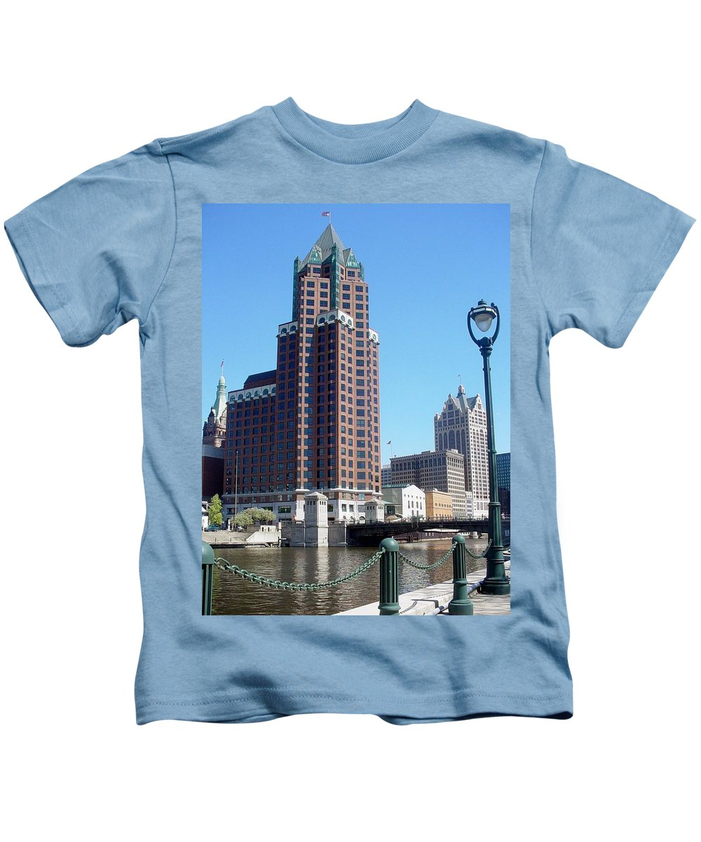 Milwaukee Kids T-Shirt featuring the photograph River Walk View Photo by Anita Burgermeister