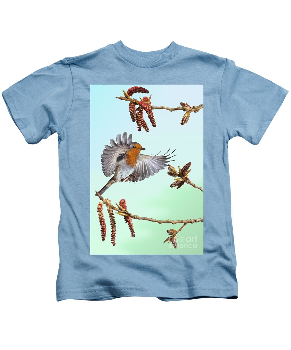 Erithacus Rubecula Kids T-Shirt featuring the photograph Robin And Poplar by Warren Photographic