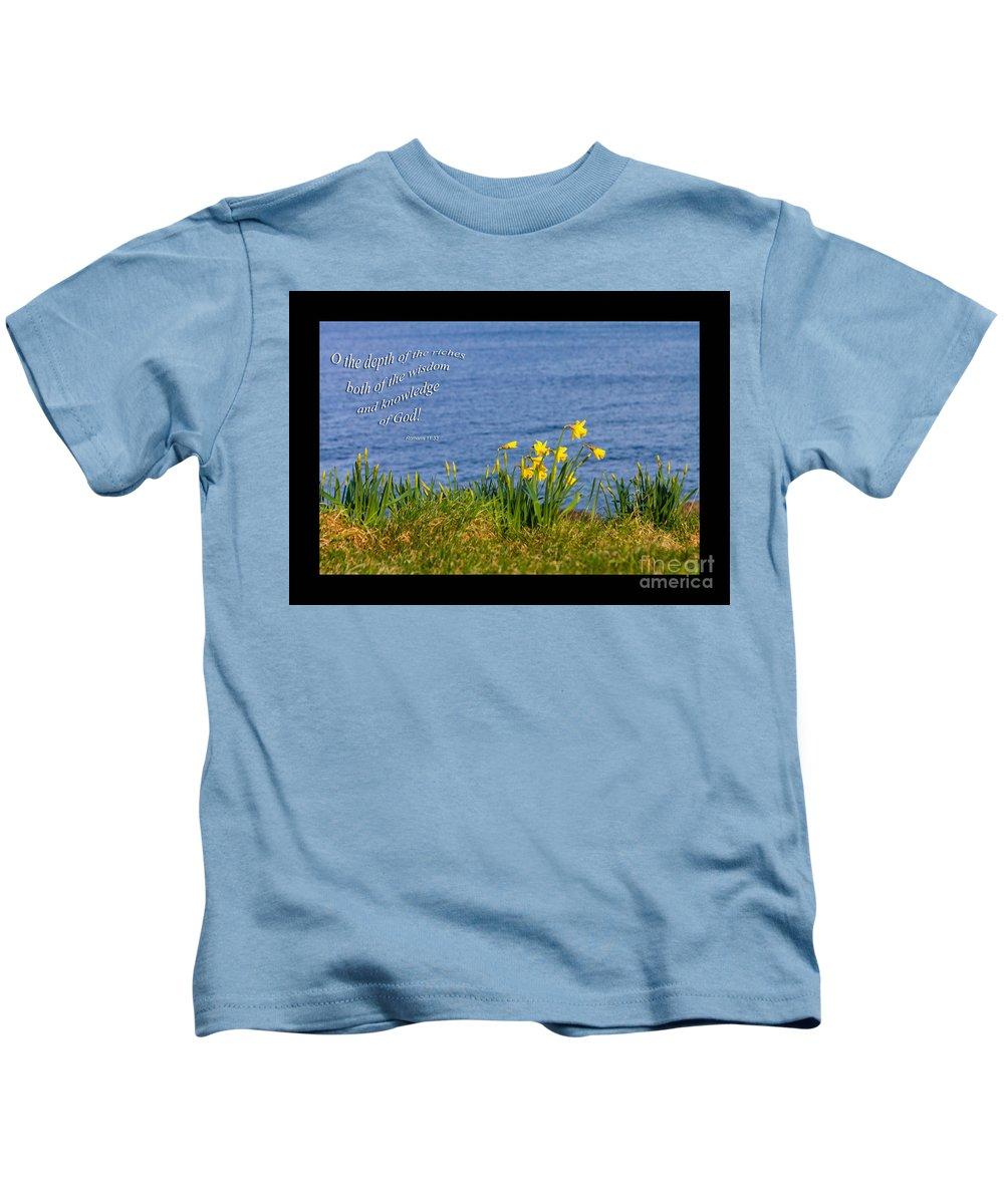 Romans 11:33 Kids T-Shirt featuring the photograph Romans 11v33 by Diane Macdonald