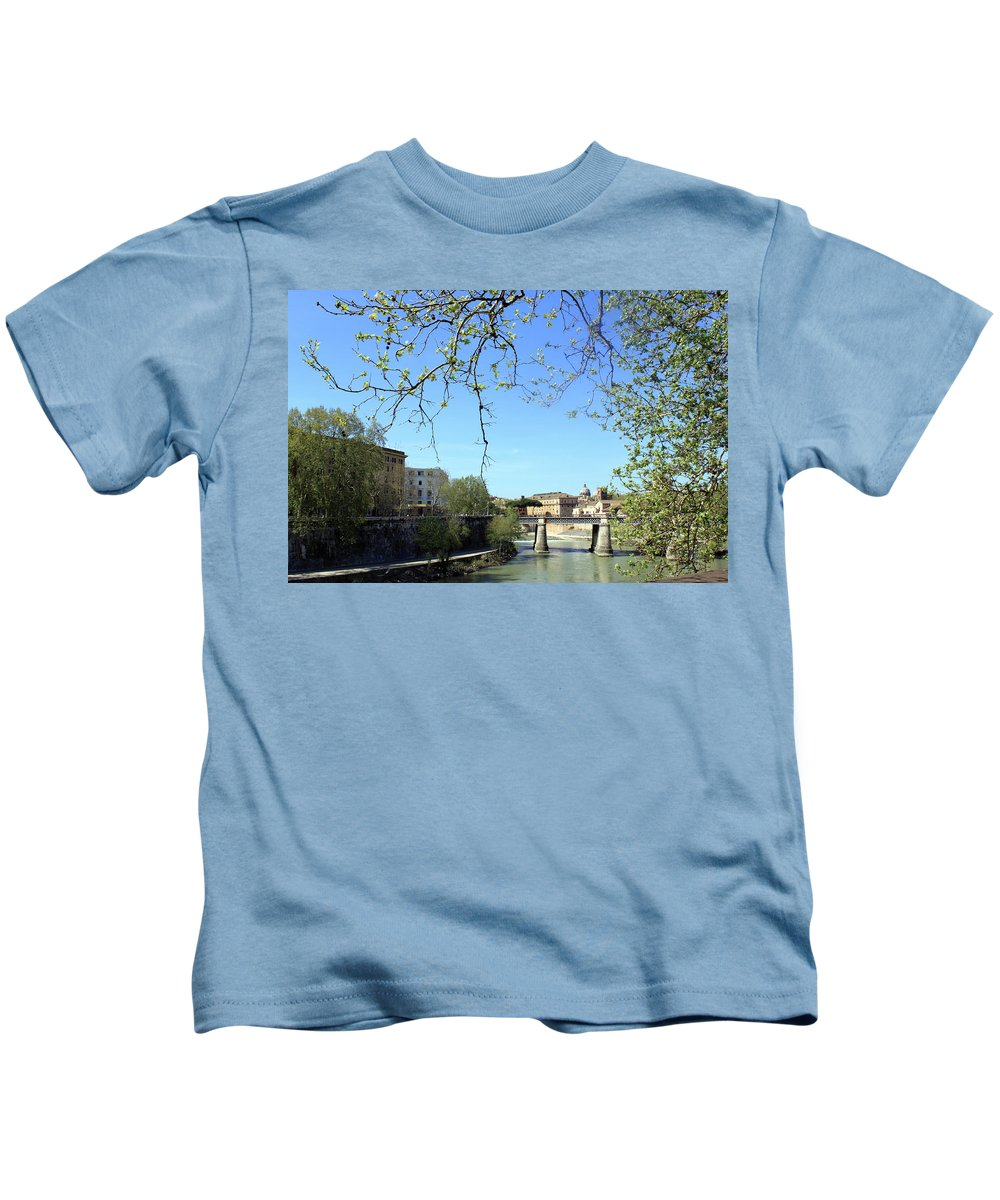Rome Kids T-Shirt featuring the photograph Rome's River by Munir Alawi