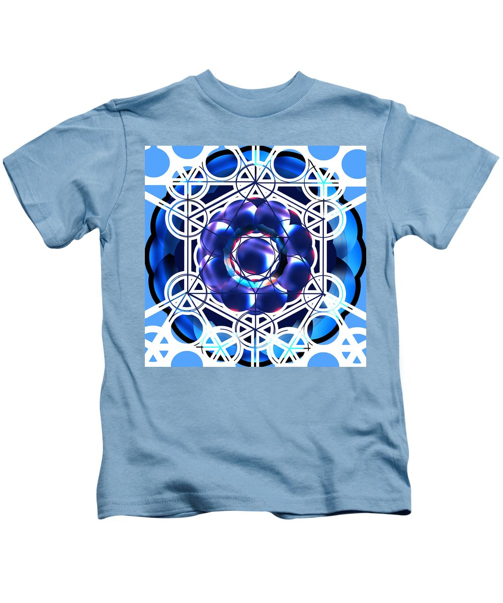 Sacred Kids T-Shirt featuring the digital art Sacred Geometry Blue Shapes Background by Laura Haro