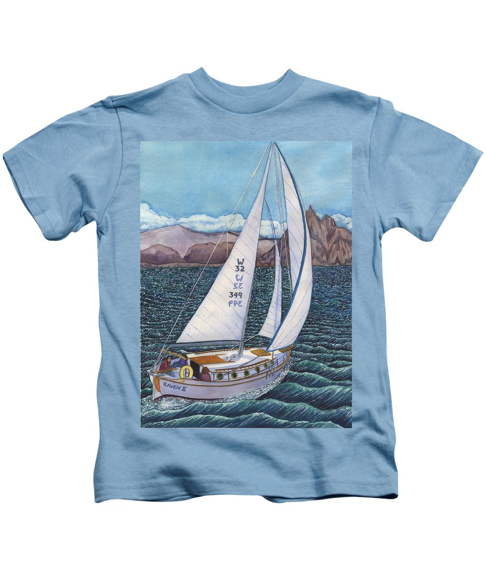 Sailboat Kids T-Shirt featuring the painting Sailing by Catherine G McElroy