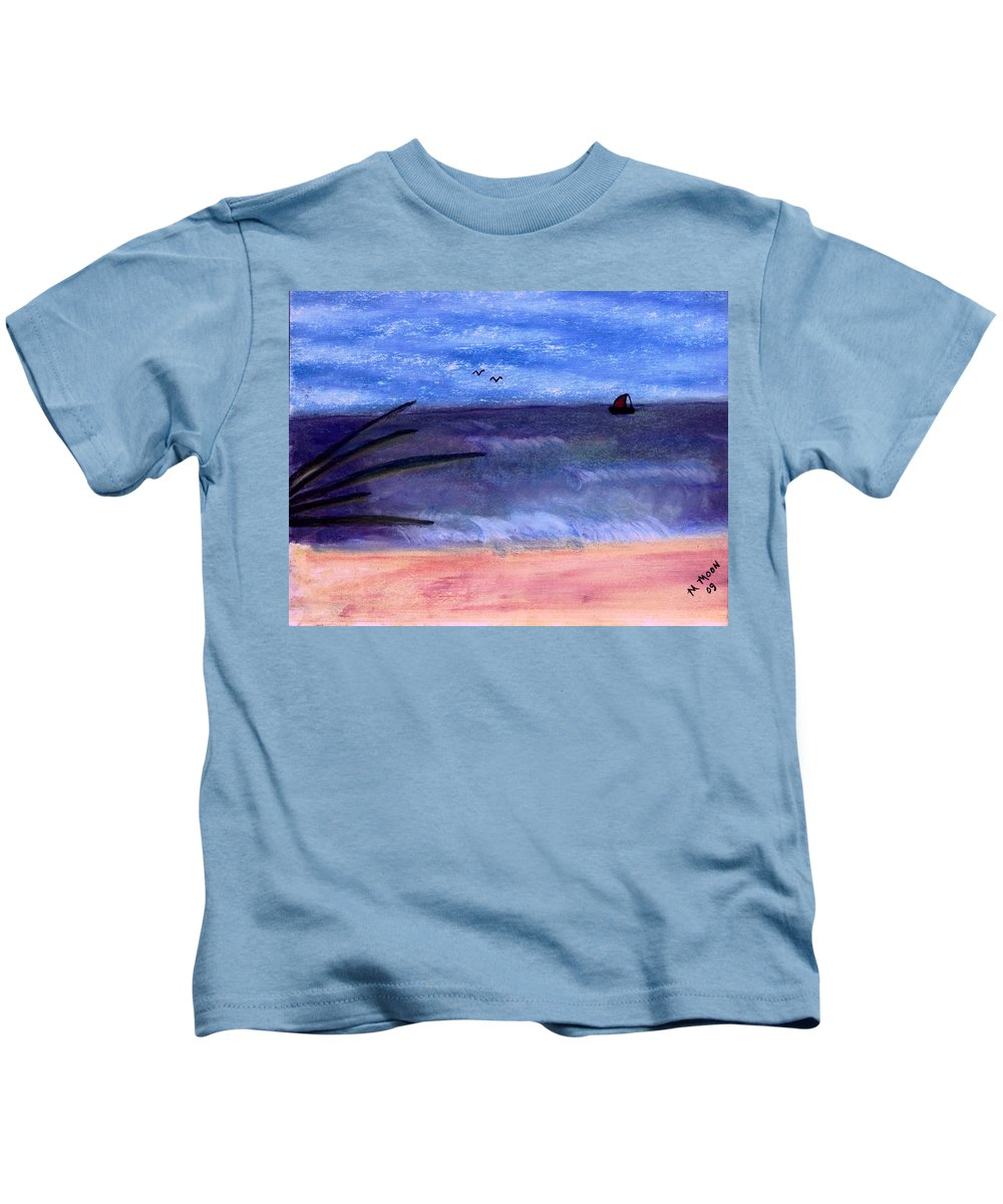 Ocean Kids T-Shirt featuring the pastel Sailing by Melvin Moon